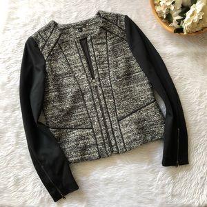 Ann Taylor Black Tweed Zip Up Jacket